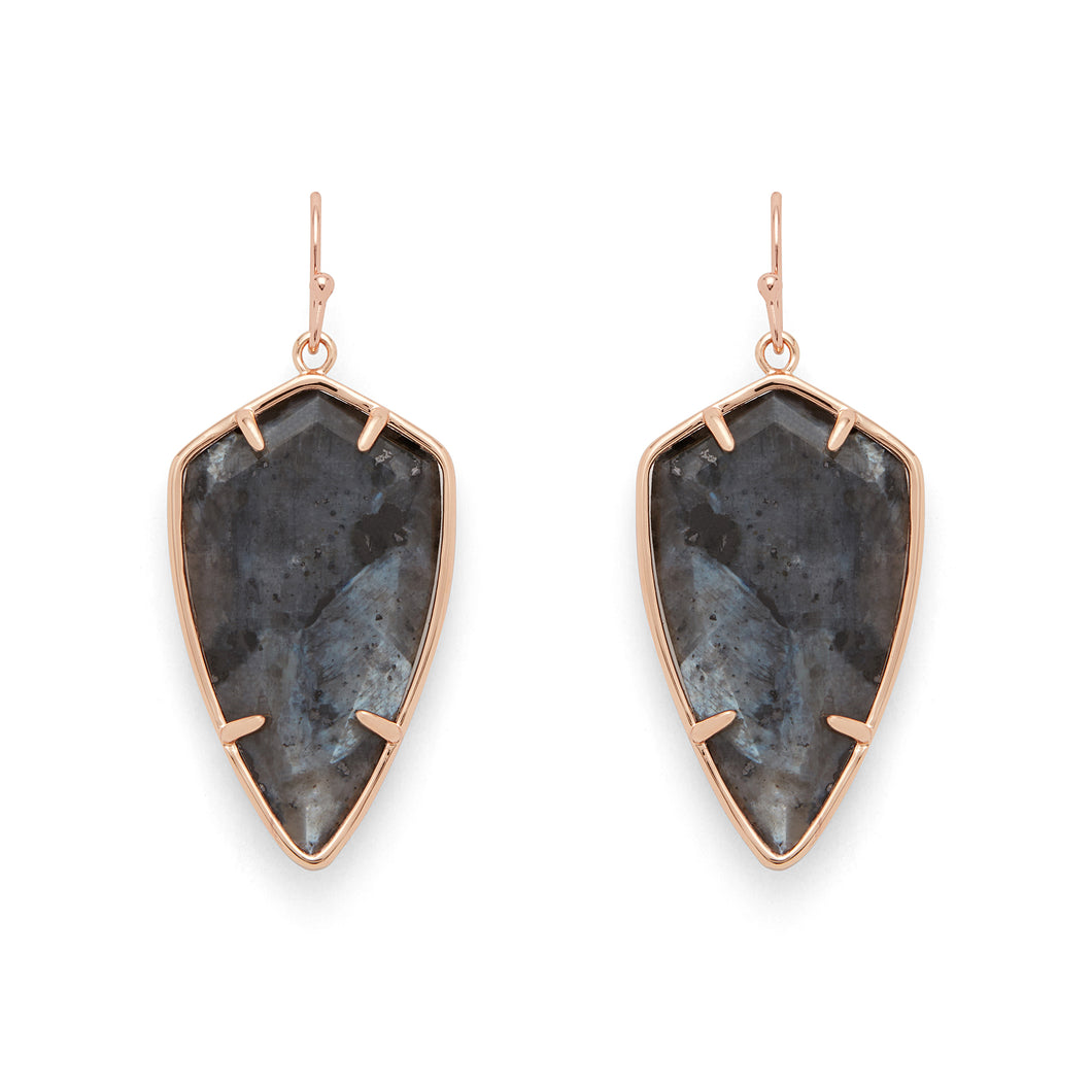 Camden Earrings in Rose Gold and Larvikite - Rocksbox