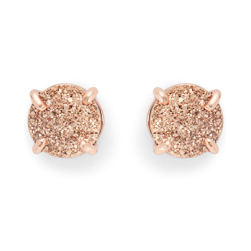 Charlotte Studs in Rose Gold and Rose Gold Druzy - Rocksbox