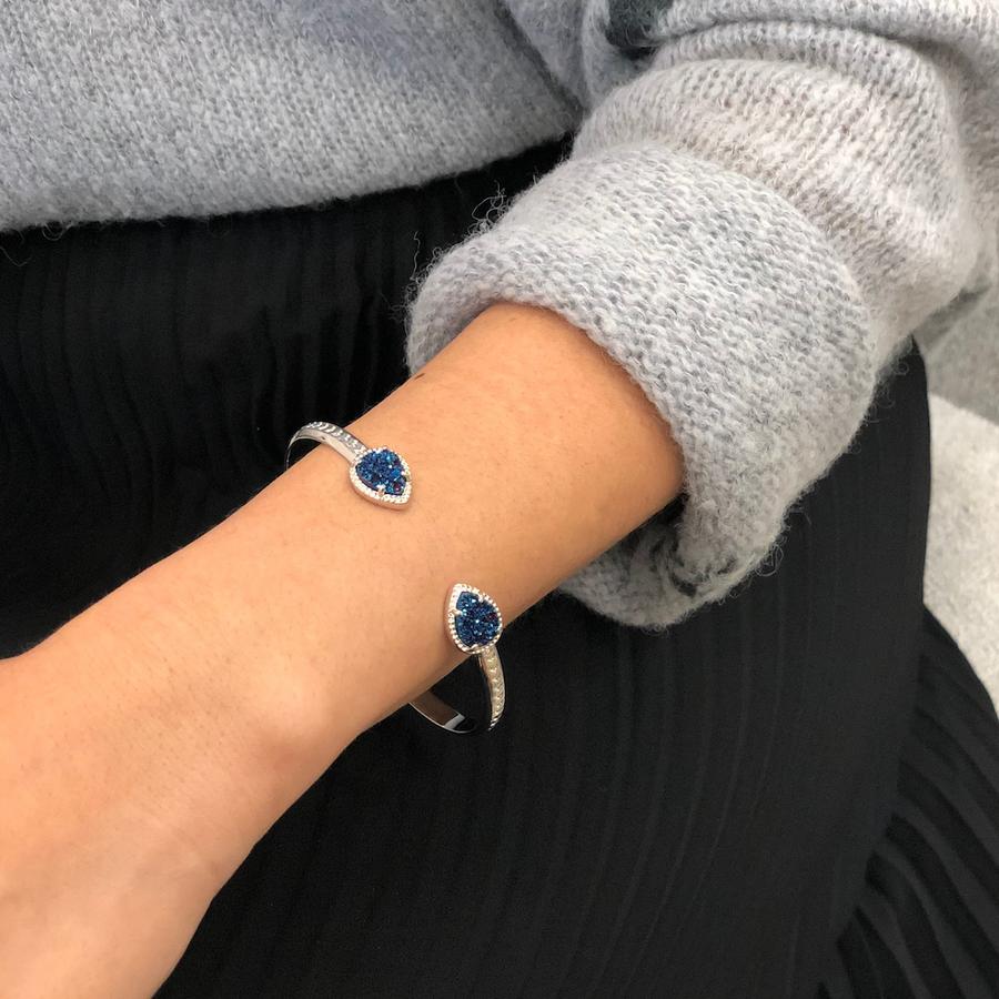 Raleigh Cuff in Silver and Navy Druzy
