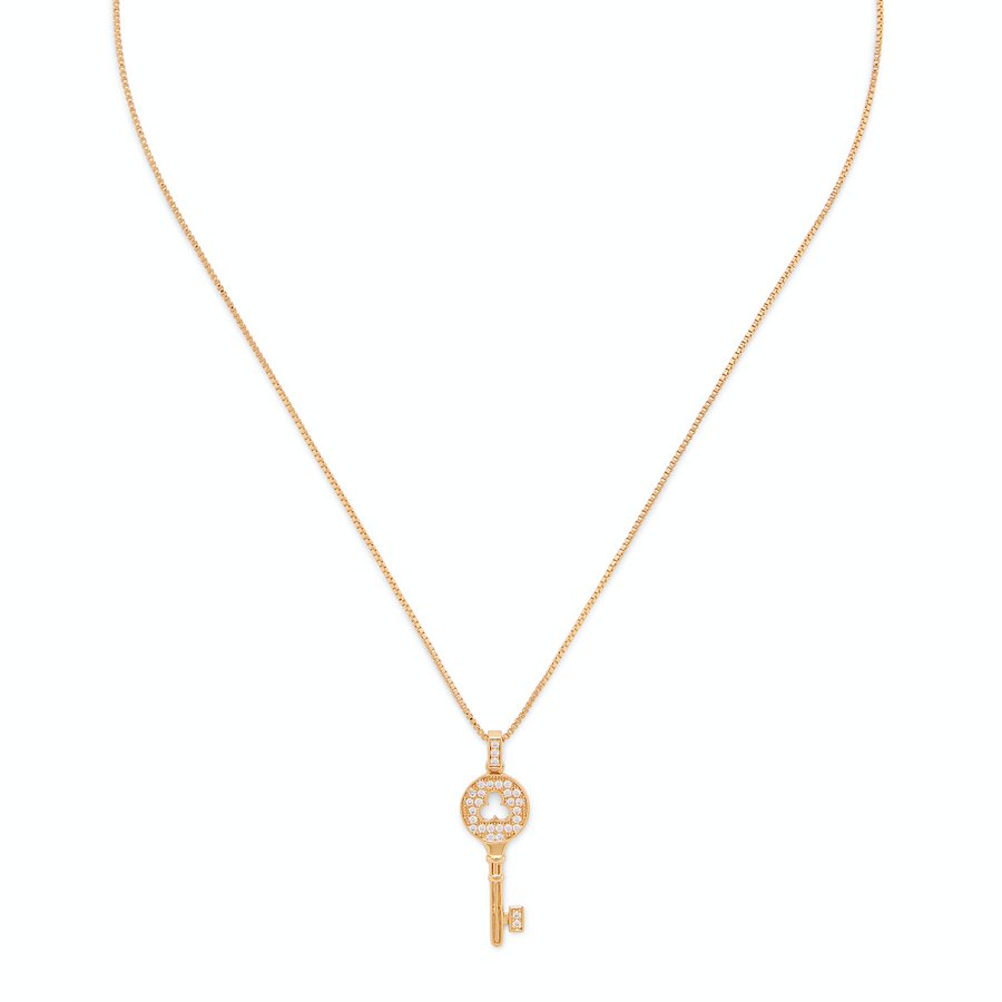 Pave Key Pendant in Gold