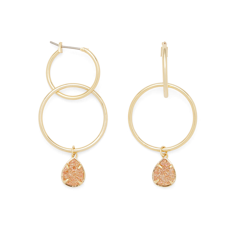 Denver Hoops in Gold and Champagne Druzy