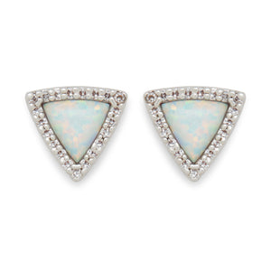Skye Studs in Silver and Mint Opal
