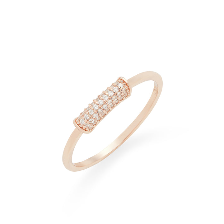 Rounded Pave Bar Ring in Rose Gold