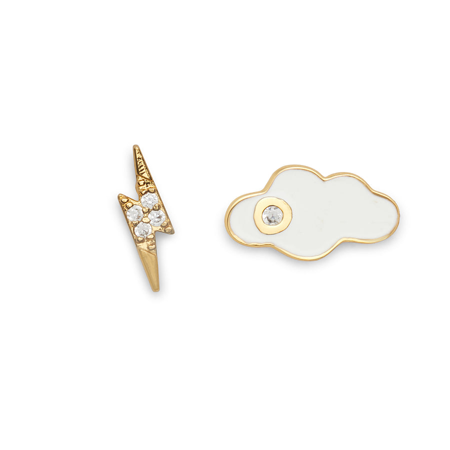 Cloud and Lightning Bolt Studs