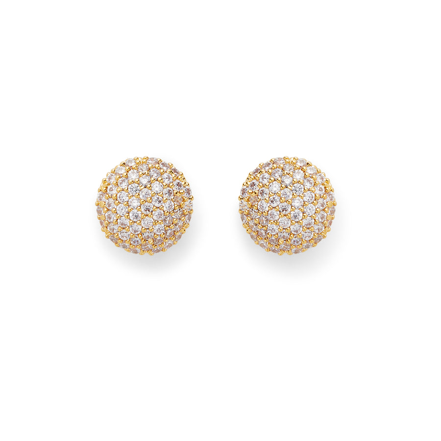 Pave Button Studs in Gold