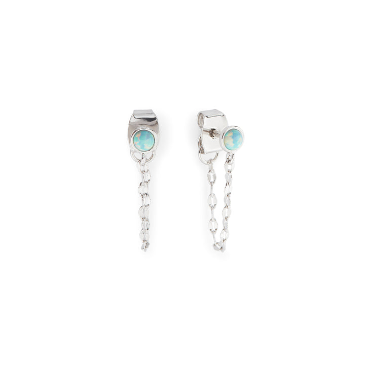Fae Earrings in Silver and Aqua Opal