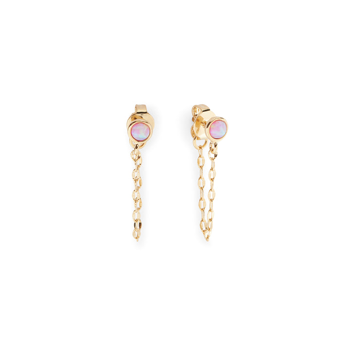 Fae Earrings in Gold and Pink Opal