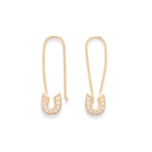 Pave Safety Pin Earrings