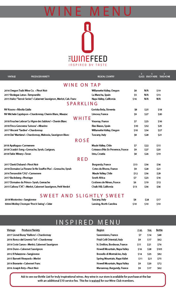 The Wine Feed Raleigh - March 2020 menu