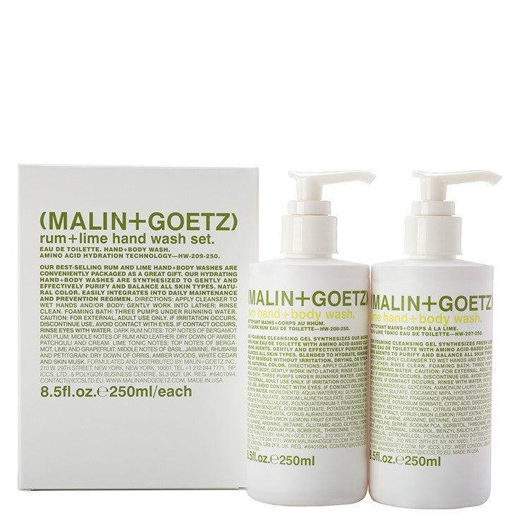 malin and goetz rum+lime hand wash set