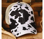 Cow Print Criss Cross Ponytail Hat