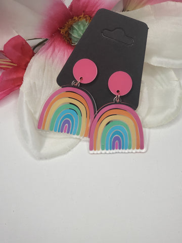 Rainbow Earrings with pink stud