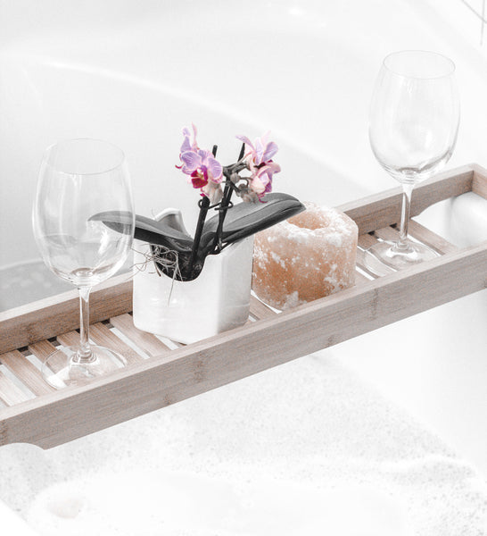 relaxing bath and wine