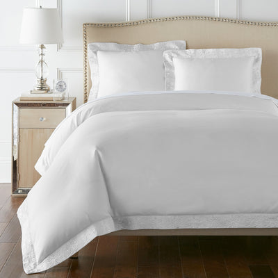 Egyptian Cotton sheets Ariane Duvet Cover Set in white | 100% ELS Giza Egyptian Cotton - by Pure Parima#color_white
