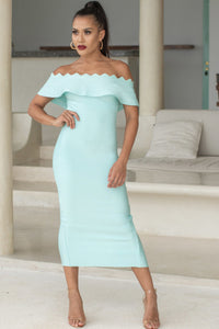 NICOLE - OFF THE SHOULDER MIDI DRESS IN MINT