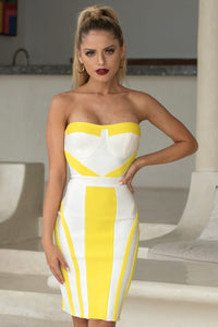 HARLOW - STRAPLESS MINI BODYCON DRESS IN YELLOW