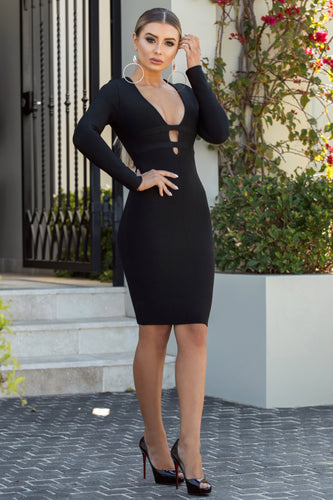 Famous Long Sleeves Black Dress | Jindigo Babe