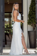 Side View of IMPRESS - White Long Lace Dress