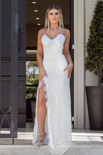 IMPRESS - White Long Lace Dress | Jindigo Babe