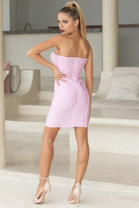 GRACE - STRAPLESS MINI BODYCON IN PINK