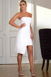 KYLIE - ASYMETRIC STRAPLESS MINI DRESS IN WHITE