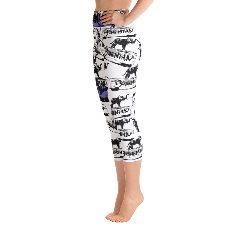 Elephant on a Train Car Yoga Capri Leggings