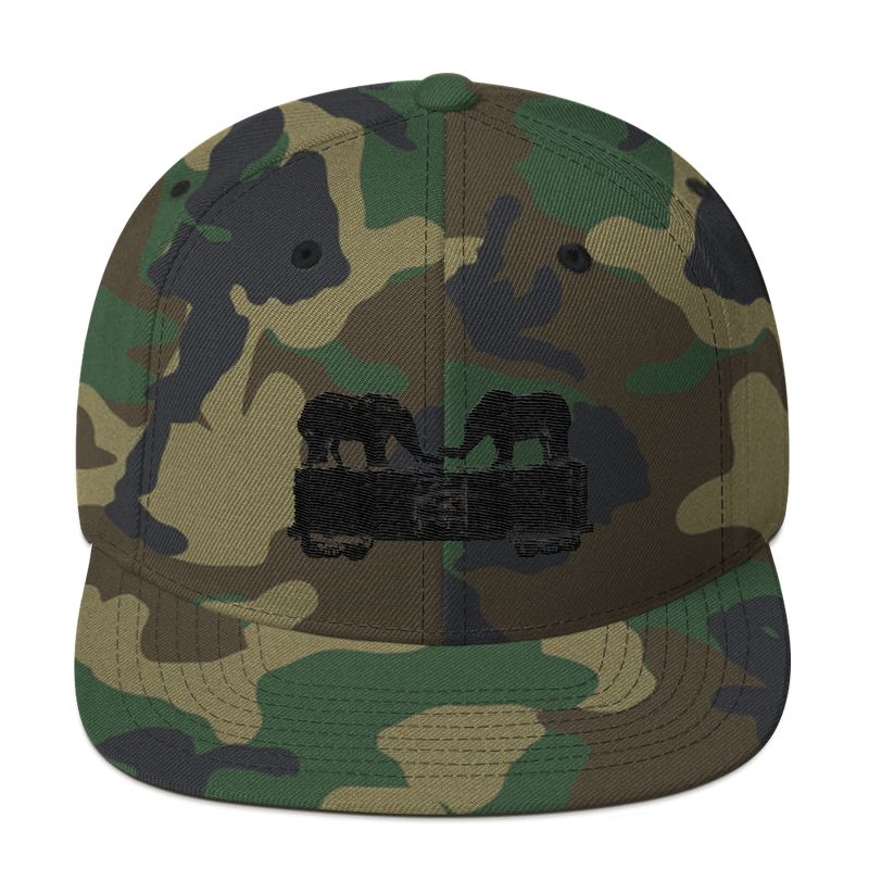 Two Elephants Riding A Rail Car - Snapback Hat
