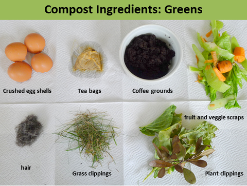 compost greens, nitrogen, compost ingredients, compost materials