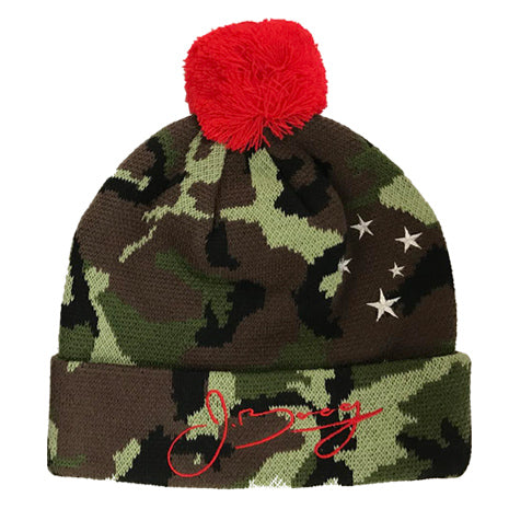 Pom Beanie - Camo & Orange