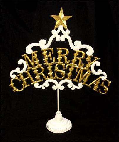 Ornament Merry Christmas wit/goudkleurig