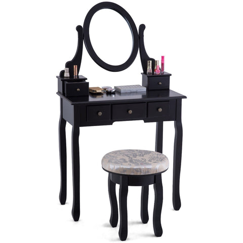 Vanity Table Set  Table Cushioned Stool with 5 Drawers