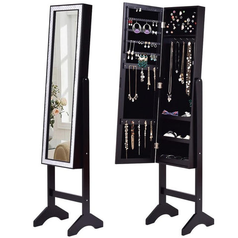 Jewelry  Cabinet with Diamond Mirror and Stand