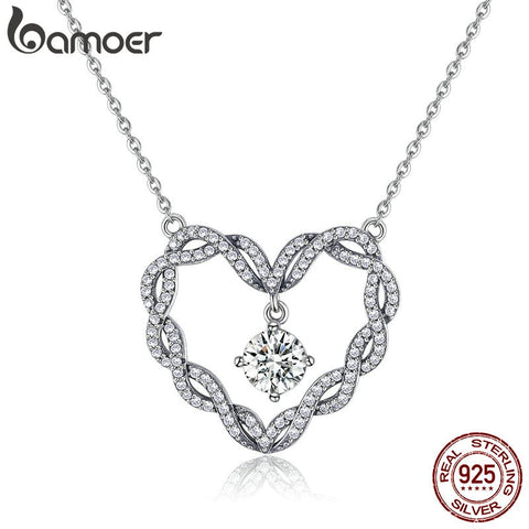 Sterling Silver Minimalism Twisted Heart Shape Crystal Pendant Necklaces