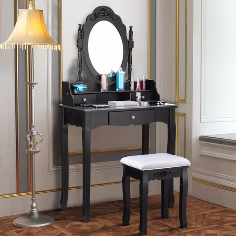 Vanity& Stool Set  3 Drawer Mirror Black