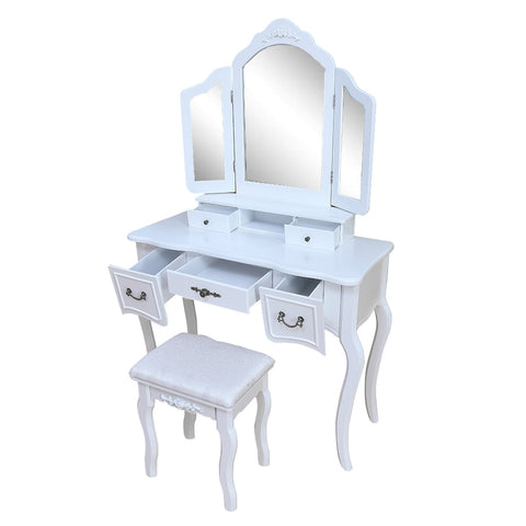 White Tri-Folding Mirror Vanity Set with 5 Drawers
