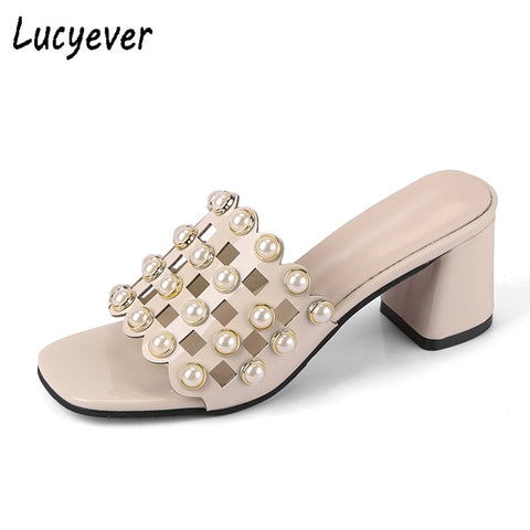 Pearls Beading High Heels