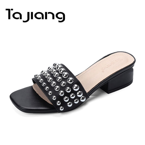 Genuine Leather Cow Suede Rivet Women Sandals