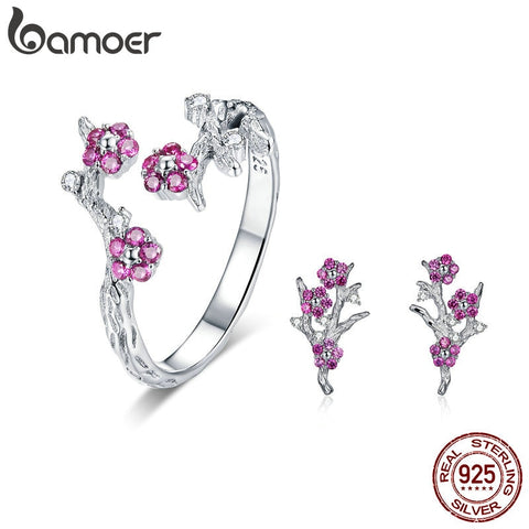 Sterling Silver Blooming Plum Flower  Jewelry Sets
