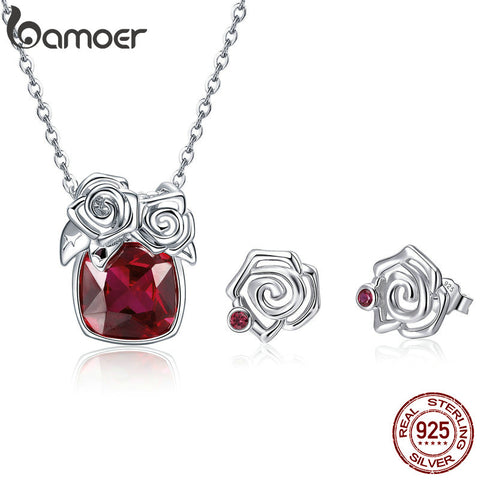 Sterling Silver Red Zirconia Rose Flower Jewelry Set*