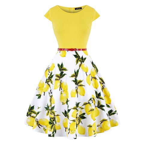 Lemon Flower Print Dress