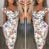 Women Floral Pencil Midi Dress