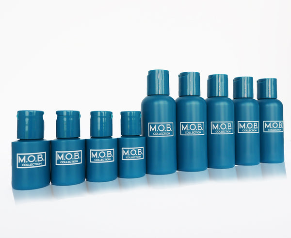 Take M.O.B. Collection The Essentials travel bottles on the go from business trips and on holiday or to festivals and the gym
