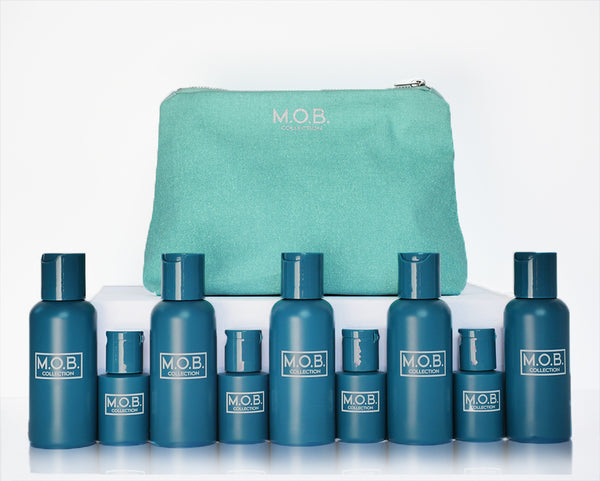 Take M.O.B. Collection Jet-Set travel bottles on the go from business trips and on holiday or to festivals and the gym