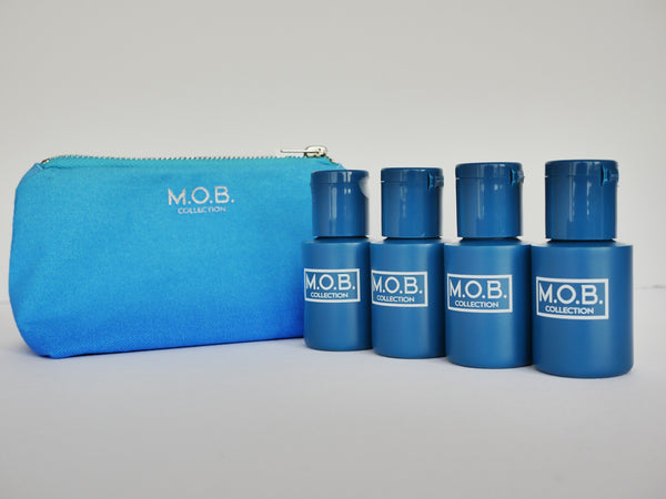 Take M.O.B. Starter Collection travel bottles on the go from business trips and on holiday or to festivals and the gym