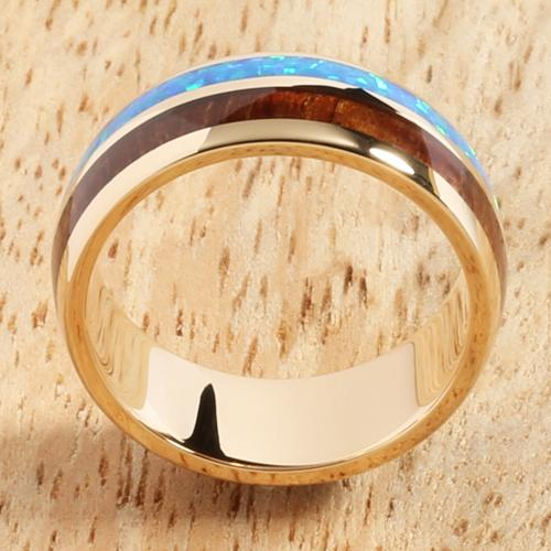14K Yellow Gold Natural Hawaiian Koa Wood and Opal Inlay Wedding Ring 8mm
