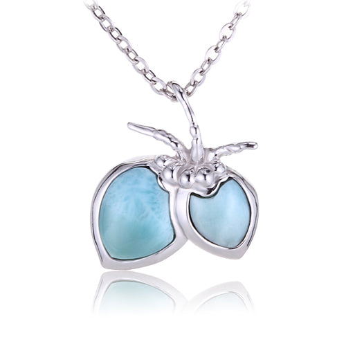 Sterling Silver Larimar Coconut Pendant(Chain Sold Separately)