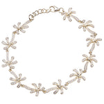 Palm Tree Sterling Silver Bracelet Yellow Gold Plated Pave Cubic Zirconia