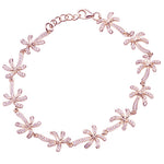 Palm Tree Sterling Silver Bracelet Pink Gold Plated Pave Cubic Zirconia