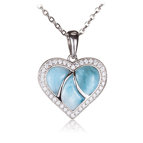 Larimar CZ Inlaid Sterling Silver Heart Pendant(Chain Sold Separately)