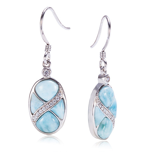 Sterling Silver Oval Hook Earring Larimar CZ Inlaid